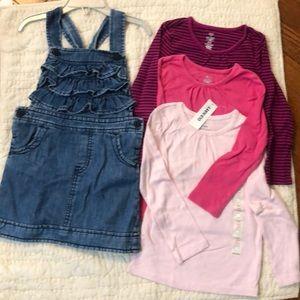 Old Navy Denim Jumper Dress Bundle w 3 shirts